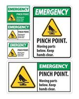 Emergency Pinch Point, Moving Parts Below, Keep Hands Clear Symbol Sign Isolate on White Background,Vector Illustration EPS.10 vector