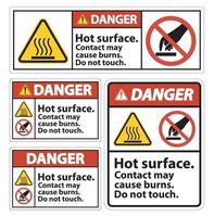 Danger Hot Surface Do Not Touch Symbol Sign Isolate on White Background,Vector Illustration vector