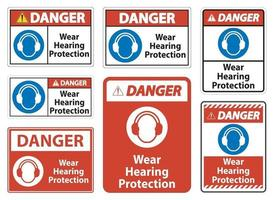 Danger Wear hearing protection sign on white background vector