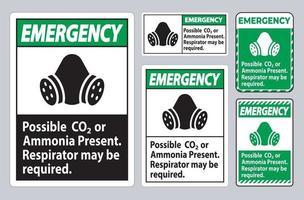 signo de ppe de emergencia posible presencia de co2 o amoníaco, puede ser necesario un respirador vector