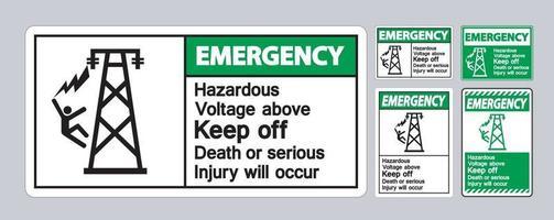 voltaje peligroso de emergencia por encima de mantener fuera la muerte o se producirán lesiones graves símbolo signo vector