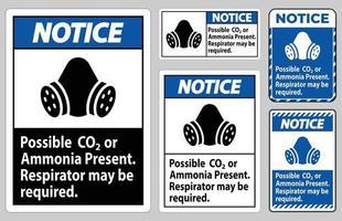 aviso ppe signo posible presencia de co2 o amoníaco, es posible que se requiera respirador vector
