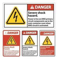 Danger Severe shock hazard sign on white background vector