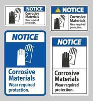 señal de aviso materiales corrosivos, use protección requerida vector