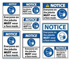 Notice Wear A Face Mask Sign Isolate On White Background,Vector Illustration EPS.10 vector