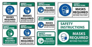 Safety Instructions Masks Required Beyond This Point Sign Isolate On White Background,Vector Illustration EPS.10 vector