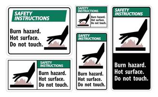 Safety Instructions Burn hazard,Hot surface,Do not touch Symbol Sign Isolate on White Background,Vector Illustration vector