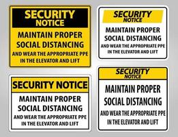 Security Notice Maintain Proper Social Distancing Sign Isolate On White Background,Vector Illustration EPS.10 vector