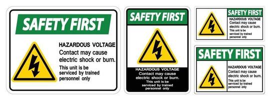 El primer contacto de voltaje peligroso de seguridad puede causar una descarga eléctrica o un signo de quemadura sobre fondo blanco. vector
