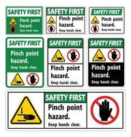 Safety First Pinch Point Hazard,Keep Hands Clear Symbol Sign Isolate on White Background,Vector Illustration vector