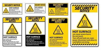 Security Notice Hot surface sign on white background vector