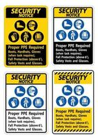 Security Notice Sign Proper PPE Required Boots, Hardhats, Gloves When Task Requires Fall Protection With PPE Symbols vector
