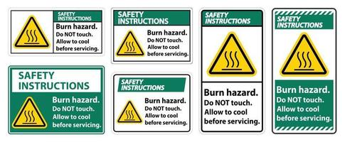 Safety Instructions Burn hazard safety,Do not touch label Sign on white background vector