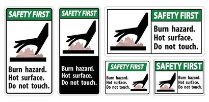 Safety First Burn hazard,Hot surface,Do not touch Symbol Sign Isolate on White Background,Vector Illustration vector