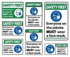 Safety First Wear A Face Mask Sign Isolate On White Background,Vector Illustration EPS.10 vector