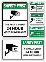 Safety first this Area Is Under 24 hour Video Surveillance Symbol Sign Isolated on White Background,Vector Illustration vector