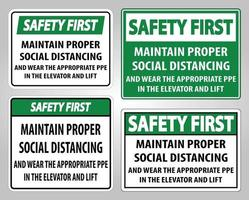 Safety First Maintain Proper Social Distancing Sign Isolate On White Background,Vector Illustration EPS.10 vector