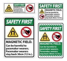 La seguridad es el primer campo magnético que puede ser perjudicial para los usuarios de marcapasos. vector