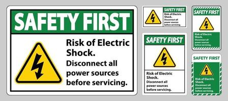 Safety first Risk of electric shock Symbol Sign Isolate on White Background vector