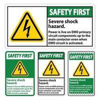 Safety First Severe shock hazard sign on white background vector