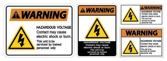 Advertencia El contacto de voltaje peligroso puede causar una descarga eléctrica o un signo de quemadura sobre fondo blanco. vector