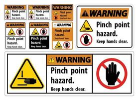 Warning Pinch Point Hazard,Keep Hands Clear Symbol Sign Isolate on White Background,Vector Illustration vector