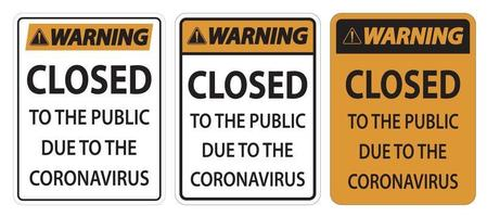 Warning Closed to public sign on white background vector