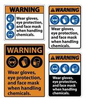 Warning Wear Gloves, Eye Protection, And Face Mask Sign Isolate On White Background,Vector Illustration EPS.10 vector