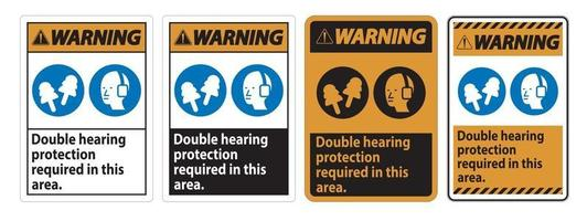Warning Sign Double Hearing Protection Required In This Area With Ear Muffs and Ear Plugs vector