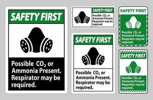 seguridad ante todo signo de ppe posible presencia de co2 o amoníaco, es posible que se requiera un respirador vector