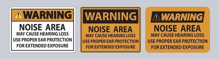 señal de advertencia de ppe, el área de ruido puede causar pérdida auditiva, use protección auditiva adecuada para una exposición prolongada vector