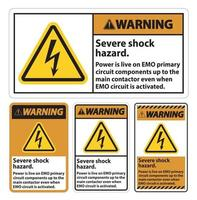 Warning Severe shock hazard sign on white background vector