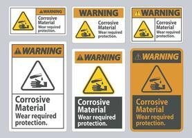 señal de advertencia materiales corrosivos, use protección requerida vector