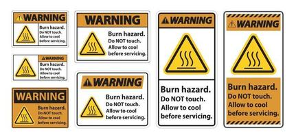 Warning Burn hazard safety,Do not touch label Sign on white background vector