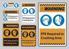 Warning Sign PPE Required In Crushing Area Isolate on White Background vector