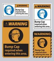 Warning Sign Bump Cap Required When Entering This Area vector