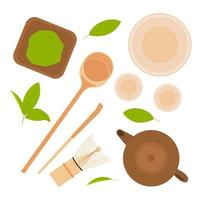 Japanese tea ceremony. Various tools for preparing drink. Flat lay top view vector