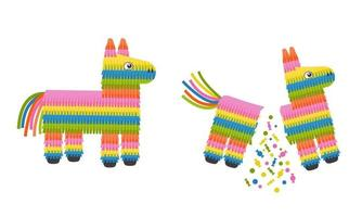 Pinata donkey whole and broken, full and empty isolated on white background. Traditional mexican toy with candies for birthday party vector