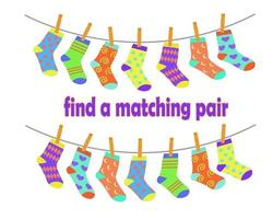 Find a pair of matching socks. Children education logic game vector