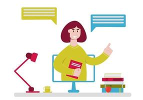 Concept of online education, studying and homeschooling. Online teacher speaking from computer monitor vector