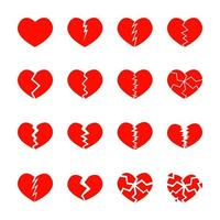 Set of red broken hearts icons isolated on white background. Different symbols of heartbreak, divorce, parting vector