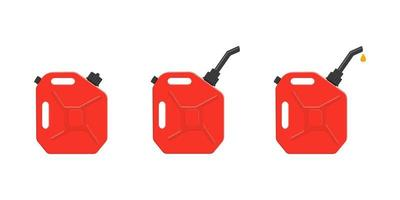Petrol canisters with closing cap, spout and pouring gasoline drop. Set of gas cans, fuel containers vector