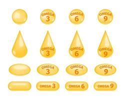 Omega fatty acids 3, 6 and 9. Golden drops and pills of fish oil set. Polyunsaturated fats icons isolated on white background vector