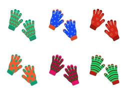 Set of knitted warm winter pairs of gloves with various patterns vector