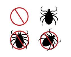 Stop mite icon set. Red forbidden sign, tick silhouette and two variations of pictogram for insect spray killer repellent vector
