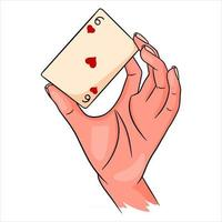 Gambling. Playing card in hand. Casino, luck, fortuna. Six of worms. vector