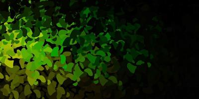 Dark green, yellow vector backdrop with chaotic shapes.