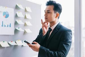 Asian businessman planning a business next to the plan board photo