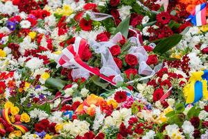 Flower bouquet with ribbon of Ukrainian flag. Dependence Day of the Ukraina - image photo