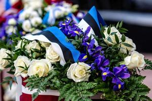 Flower bouquet with Estonian flag. Estonian Independence Day - image photo
